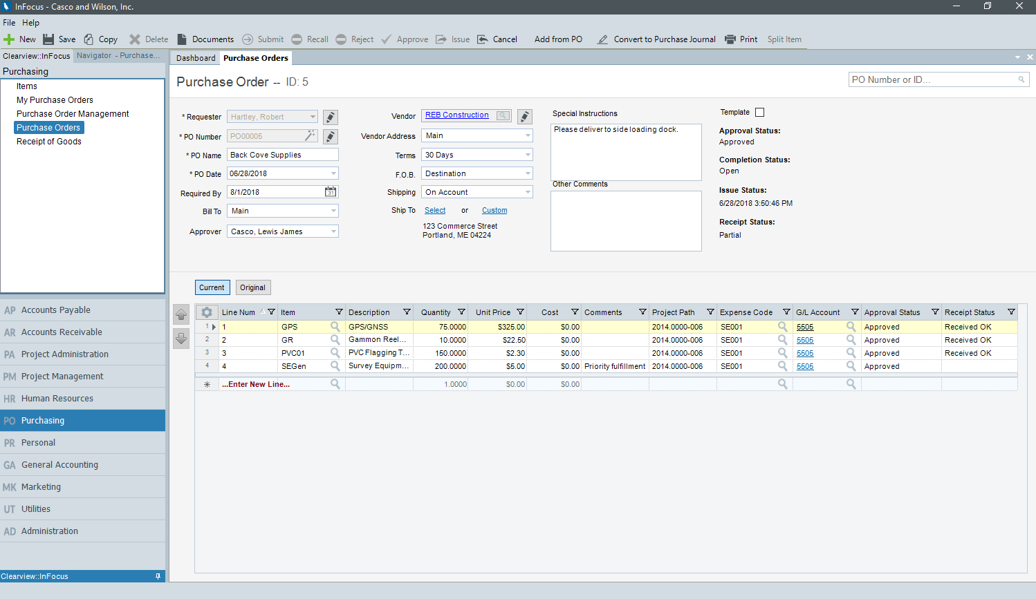 Purchase Orders in InFocus ERP for Architects & Engineers